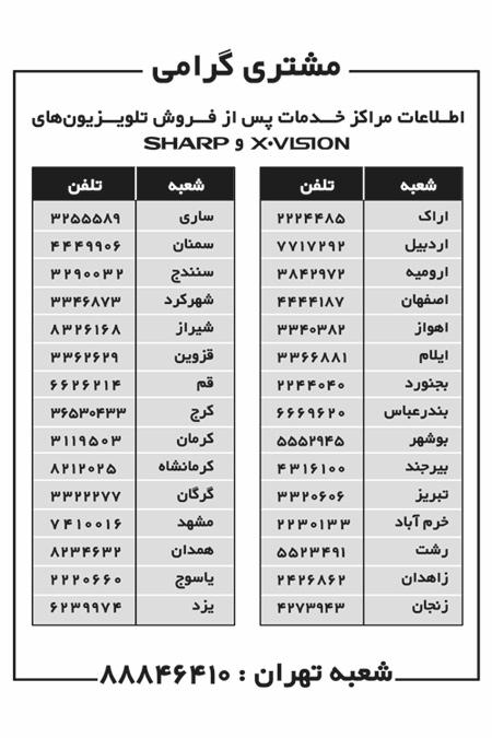 شماره های خدمات پس از فروش مادیران در تهران و شهرستانها